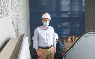 Τον υπό κατασκευήν σταθμό «Αγία Βαρβάρα» επισκέφθηκε ο υπουργός Υποδομών και Μεταφορών Κώστας Καραμανλής.