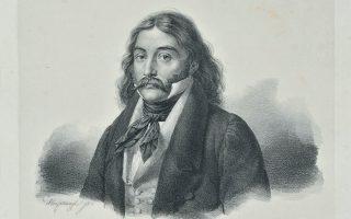 Ο Αλέξανδρος Μαυροκορδάτος σε λιθογραφία που βασίζεται σε σκίτσο που έφτιαξε ο Καρλ Κρατσάιζεν στον Πόρο το 1827 (Εθνική Πινακοθήκη).