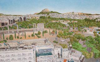 Αθήνα, 2018, Σκόνες ζωγραφικής (65,5x100 εκ.). Εργο του Γιώργου Αυγέρου από την ατομική έκθεση «Νοητικές περιπλανήσεις», που παρουσιάστηκε στην Γκαλερί Ζουμπουλάκη τον Οκτώβριο - Νοέμβριο 2019.