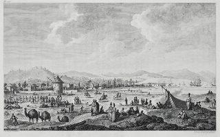 Αποψη της Σμύρνης. Χαρακτικό του J.B. Hilair από το περιηγητικό του διπλωμάτη Choiseul - Gouffier, Voyage pittoresque en Grèce, Παρίσι 1782.