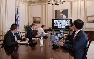 Στην τηλεδιάσκεψη της περασμένης Τρίτης ο κ. Μητσοτάκης κάλεσε τους τραπεζίτες να κινηθούν με ταχύτητα, ώστε να διοχετευθεί εντός του έτους προς τις ελληνικές επιχειρήσεις η διαθέσιμη ρευστότητα της τάξεως των 15 δισ. ευρώ. ΑΠΕ-ΜΠΕ / ΓΡΑΦΕΙΟ ΤΥΠΟΥ ΠΡΩΘΥΠΟΥΡΓΟΥ / ΔΗΜΗΤΡΗΣ ΠΑΠΑΜΗΤΣΟΣ