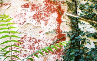 Λεπτομέρεια από τον τοίχο της βίλας Κλωναρίδη, στα Πατήσια, με το χαρακτηριστικό χρώμα του κυπαρισσιού και της τερακότας. ΝΙΚΟΣ ΒΑΤΟΠΟΥΛΟΣ