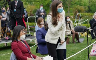 CNN White House correspondent Kaitlan Collins tries to ask her question of U.S. President Donald Trump after he called on her on the heels of an exchange with CBS News correspondent Weijia Jiang (L) during a coronavirus disease (COVID-19) outbreak response briefing at the White House in Washington, U.S., May 11, 2020. The president refused to hear Collins' question, then ended and left the news conference. REUTERS/Kevin Lamarque     TPX IMAGES OF THE DAY