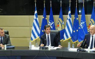 (Ξένη Δημοσίευση)  Ο υπουργός Εθνικής Άμυνας Νίκος Παναγιωτόπουλος και ο υπουργός Εξωτερικών Νίκος Δένδιας μιλάνε στη συνεδρίαση της κοινοβουλευτικής επιτροπής εξωτερικών και άμυνας στο ΥΠΕΘΑ, την Τρίτη 26 Μαΐου 2020. ΑΠΕ-ΜΠΕ/Υπουργείο Εξωτερικών/ΧΑΡΗΣ ΑΚΡΙΒΙΑΔΗΣ