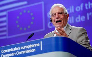 «Eίμαστε σε στενή επαφή με τους συναδέλφους μας, τους υπουργούς Εξωτερικών της Ελλάδας και της Κύπρου, προκειμένου να παρακολουθήσουμε την κατάσταση», ανέφερε ο ύπατος εκπρόσωπος της Ε.Ε., Ζοζέπ Μπορέλ.