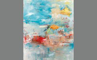 Πίνακας της Eλενας Κυρκιλή από την έκθεση «Surfacing the scenes within» στην Evripides Art Gallery.