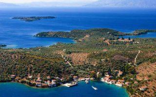 Το νησάκι σε αεροφωτογραφία.