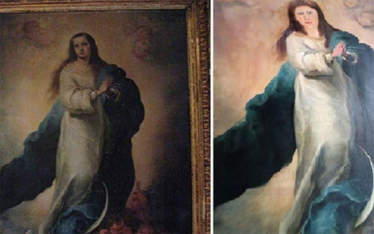 Ισπανία: Αγνώριστος Μπαρόκ πίνακας της Παναγίας… μετά από επέμβαση συντηρητή