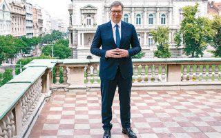 O Σέρβος πρόεδρος Αλεξάνταρ Βούτσιτς, χθες, στο Βελιγράδι (φωτ. REUTERS).