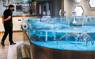 Πελάτης παρακολουθεί ζωντανά θαλασσινά σε ενυδρείο της αλυσίδας JD.com, καθώς νέα κρούσματα καταγράφονται καθημερινώς στο Πεκίνο.