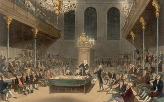 Η Βουλή των Κοινοτήτων (House of Commons) του Ηνωμένου Βασιλείου στις αρχές του 19ου αιώνα, από τους Augustus Charles Pugin και Thomas Rowlandson.