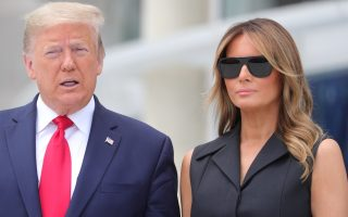 U.S. President Donald Trump and first lady Melania Trump pose during a visit to the Saint John Paul II National Shrine in Washington, U.S., June 2, 2020. REUTERS/Tom Brenner