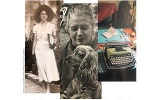 Αριστερά: H Γκρέις Φρικ στο Yale το 1937, τη χρονιά που γνωρίστηκε με τη Γιουρσενάρ. Εζησαν μαζί έως τον θάνατο της Φρικ. Ενας μεγάλος έρωτας. Κέντρο: Η Γιουρσενάρ αγαπούσε πολύ τα σκυλιά της. Δεξιά: H γραφομηχανή της.