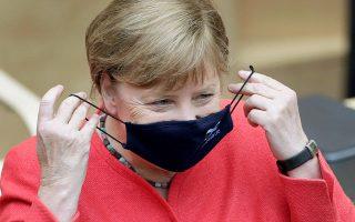 H Γερμανίδα καγκελάριος χθες στην Μπούντεσρατ (Ανω Βουλή). (φωτ. A.P. Photo)