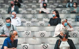 Θεατές σε συνθήκες αποστασιοποίησης στο Σπίτι της Μουσικής στο Πόρτο. Παρόμοιοι περιορισμοί αναμένεται να ισχύσουν και στις ελληνικές σκηνές (Φωτ. EPA / ESTELA SILVA) .