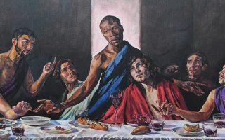 Μαύρος Χριστός στον Καθεδρικό. Το έργο της Βρετανής Lorna May Wadsworth «A Last Supper» επέλεξαν οι υπεύθυνοι του Ναού του St. Albans για  να δείξουν την αλληλεγγύη τους με το κίνημα Black Lifes Matter, χωρίς φυσικά να λείψουν και τα παράπονα για την απεικόνιση του Χριστού ως μαύρου άνδρα. EPA/NEIL HALL