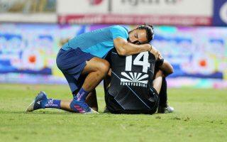 Οι παίκτες του Πανιωνίου πάλεψαν μέχρι τέλους, αλλά δεν κατάφεραν να αποφύγουν τον υποβιβασμό (φωτ. INTIME NEWS).