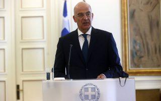 «Δεν μπορείς να οδηγηθείς σε μια συζήτηση εκβιαζόμενος», δήλωσε ο υπουργός Εξωτερικών Ν. Δένδιας. (Φωτ. INTIME NEWS)