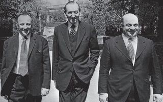 Γλαύκος Κληρίδης, Κουρτ Βάλντχαϊμ, Ραούφ Ντενκτάς, στο περιθώριο των συνομιλιών στη Βιέννη τον Μάιο του 1975.