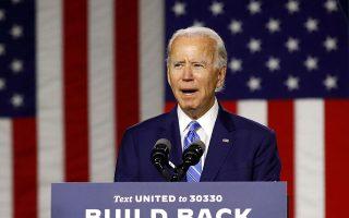 O Δημοκρατικός προεδρικός υποψήφιος, πρώην αντιπρόεδρος των ΗΠΑ, σε προεκλογική ομιλία στο Ουίλμινγκτον του Ντέλαγουερ.