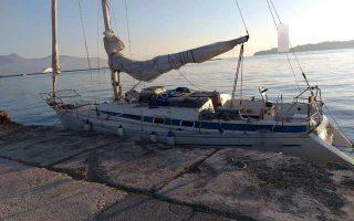 To ιστιοπλοϊκό με το οποίο το κύκλωμα επιχείρησε να μεταφέρει 23 Τούρκους υπηκόους από την Κέρκυρα στην Ιταλία.