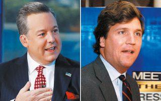 Ο Εντ Χένρι και ο Τάκερ Κάρλσον, τα δύο από τα τρία αστέρια του Fox News που θα κληθούν σύντομα σε δίκη (φωτ. A.P.).