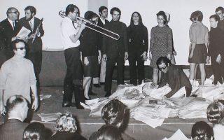 «Αnaparastasis». Στιγμιότυπο από τον «Επίκυκλο», μια δράση του 1968 στην Εβδομάδα Σύγχρονης Μουσικής.