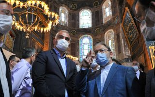 Turkey's Culture and Tourism Minister Mehmet Nuri Ersoy, accompanied by head of Turkey's Religious Affairs Directorate Ali Erbas, visits the Hagia Sophia or Ayasofya-i Kebir Camii in Istanbul, Turkey, July 12, 2020. Turkish Culture and Tourism Ministry/Handout via REUTERS ATTENTION EDITORS - THIS PICTURE WAS PROVIDED BY A THIRD PARTY. NO RESALES. NO ARCHIVE