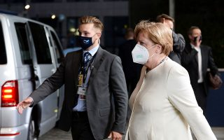 German Chancellor Angela Merkel departs from a meeting at the EU summit, amid the coronavirus disease (COVID-19) outbreak, in Brussels, Belgium July 20, 2020. REUTERS/Johanna Geron