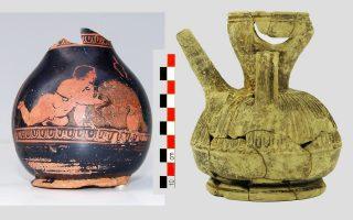 Φωτ. ΑΠΕ - ΜΠΕ: Ερυθρόμορφα αγγεία με σκηνές από την τελετή των Ανθεστηρίων (420 π.Χ.) και ηθμοειδές θήλαστρο (100-86 π.Χ.), ευρύματα που βρέθηκαν στο έργο της Αττικό Μετρό «Επέκταση της Γραμμής 3: τμήμα Χαϊδάρι-Πειραιάς»