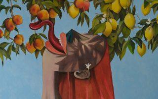 «Βερίκοκα και λεμόνια». Εργο (λεπτομέρεια) του Χρίστου Ακορδαλίτη από την έκθεση «Ανάμεσα σε κόσμους» (Between Worlds). Δύο Χωριά - Πλατφόρμα Σύγχρονης Τέχνης, πλατεία Πανάχρας, Χώρα, Μύκονος. Εως 7 Αυγούστου.