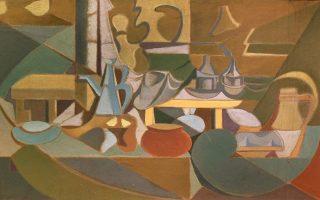 Νίκος Χατζηκυριάκος-Γκίκας, Νεκρή φύση (λεπτομέρεια), 1934, λάδι και άμμος σε μουσαμά. Από την έκθεση «Πολύτιμα έργα ζωγραφικής από το Μουσείο Νεοελληνικής Τέχνης Δήμου Ρόδου», που εγκαινιάζεται στο Μουσείο Νεοελληνικής Τέχνης Δήμου Ρόδου τη Δευτέρα 11 Φεβρουαρίου.
