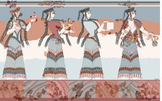 Πρόσφατη αποκατάσταση των Γυναικών από το Καδμείο της Θήβας (ομάδα μελέτης Β. Αραβαντινός κ.ά., σχέδιο Ν. Σεπετζόγλου).