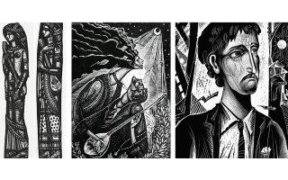 «Αρχόντισσα της Κοκκινιάς», «Αρχόντισσα της Δραπετσώνας» του Α. Τάσσου (αριστερά). «Βαρύτερ' απ' τα σίδερα» του Φ. Βάρθη (στο κέντρο). «Πήρα την στράτα κι έρχομαι» του Γ. Κόρδη (δεξιά).