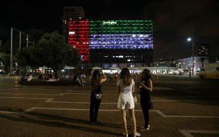 Το δημαρχείο του Τελ Αβίβ φωτισμένο στα χρώματα της σημαίας των ΗΑΕ
