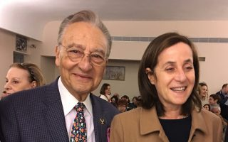 Ο πρόεδρος του ΕΜΕ Μάκης Μάτσας και η πρέσβειρα Ιριτ Μπεν Αμπα.