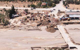 Εικόνα καταστροφής στην περιοχή Αγίου Νικολάου στο Μπούρτζι της Εύβοιας, μετά τη νεροποντή.