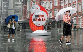 Στις 23 Ιουλίου το Τόκιο θα υποδεχόταν με την τελετή έναρξης τους 32ους θερινούς Ολυμπιακούς Αγώνες. Ωστόσο, το ρολόι της αντίστροφης μέτρησης ρυθμίστηκε ξανά από την αρχή, με στόχο την 23η Ιουλίου του 2021. (Φωτ. REUTERS)