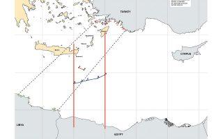 Σε αυτόν τον ανεπίσημο χάρτη αποτυπώνονται, αφενός (μπλε γραμμή, που προσδιορίζεται από τα A-B-C-D-E) τα σημεία της συμφωνηθείσας χθες οριοθέτησης ΑΟΖ με την Αίγυπτο και, αφετέρου, λίγο βορειότερα (μικρή κόκκινη γραμμή από Α-Β) τμήμα της περιοχής που οριοθετεί το παράνομο τουρκολυβικό σύμφωνο. Οι διακεκομμένες γραμμές που φαίνονται να συνδέουν τουρκικά και λυβικά παράλια θεωρητικά οριοθετούν τα σημεία που ελήφθησαν υπόψη για να προχωρήσει το προαναφερθέν σύμφωνο, το οποίο μετά τη χθεσινή εξέλιξη σαφώς ακυρώνεται στην πράξη.