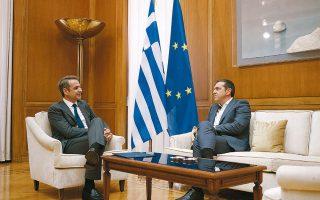 """«Αυτό που μας απασχολεί δεν είναι η ποιότητα των τουρκικών ερευνών, αλλά το γεγονός ότι το """"Ορούτς Ρέις"""" παραβιάζει κυριαρχικά δικαιώματα της πατρίδας μας», ανέφερε ο Αλ. Τσίπρας στη συνομιλία του με τον πρωθυπουργό (φωτ. INTIME NEWS)."""