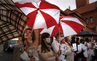 Oι διαμαρτυρίες με αίτημα την παραίτηση του προέδρου Λουκασένκο συνεχίζονται αμείωτες στη Λευκορωσία. Φωτ. EPA