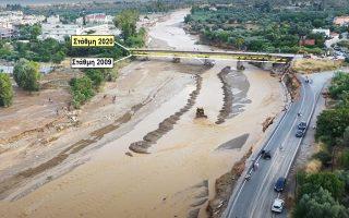 Απεικόνιση της στάθμης του νερού στην τελευταία πλημμύρα και στην αντίστοιχη του 2009.