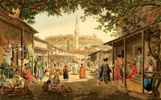 Το παζάρι των Αθηνών. Εργο (1821) του Ιρλανδού περιηγητή και αρχαιοδίφη Εντουαρντ Ντόντγουελ (1767-1832).