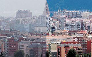 Δύο όψεις της πόλης Μούρθια της Ισπανίας, με ρύπανση και χωρίς. «Οι 630.000 θάνατοι μπορούσαν να έχουν προληφθεί και μπορούν να μειωθούν σημαντικά χάρη σε προσπάθειες βελτίωσης της ποιότητας του περιβάλλοντος», αναφέρει η έκθεση της περιβαλλοντικής υπηρεσίας (φωτ. EPA / MARCIAL GUILLEN).