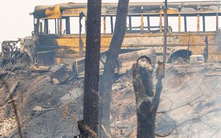 Η ταχύτερα εξαπλούμενη πυρκαγιά ξέσπασε στην περιοχή με τα περισσότερα ξεραμένα δέντρα (φωτ. EPA).