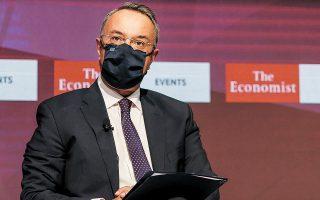 O υπουργός Οικονομικών Χρήστος Σταϊκούρας μίλησε για την ανάγκη «να αξιοποιήσουμε με σωφροσύνη τη δημοσιονομική ευελιξία και να κάνουμε βέλτιστη χρήση των ευρωπαϊκών πόρων», προσθέτοντας ότι «πρέπει να συνεχίσουμε τη δημοσιονομική εξυγίανση μετά το 2021» (φωτ. ΑΠΕ).