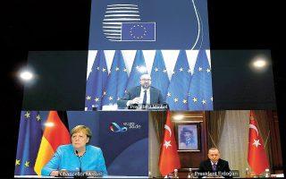 Η τηλεδιάσκεψη που είχαν χθες οι Αγκελα Μέρκελ (δεξιά), Σαρλ Μισέλ (κέντρο) και Ρετζέπ Ταγίπ Ερντογάν «ξεκλείδωσε» την επανέναρξη των διερευνητικών επαφών μεταξύ Ελλάδας και Τουρκίας.