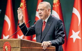 «Δεν θα υπάρχει ειρήνη στην Ανατολική Μεσόγειο με οποιαδήποτε προσπάθεια που αφήνει εκτός την Τουρκία και τους Τουρκοκυπρίους», τόνισε ο Ταγίπ Ερντογάν (φωτ. Turkish Presidency / A.P.).
