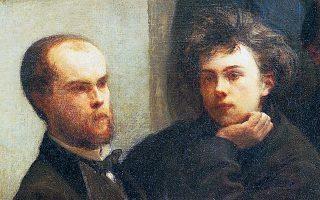 Ο Βερλέν και ο Ρεμπό, στον πίνακα του Ανρί Φαντέν-Λατούρ «Η άκρη του τραπεζιού» (1872).