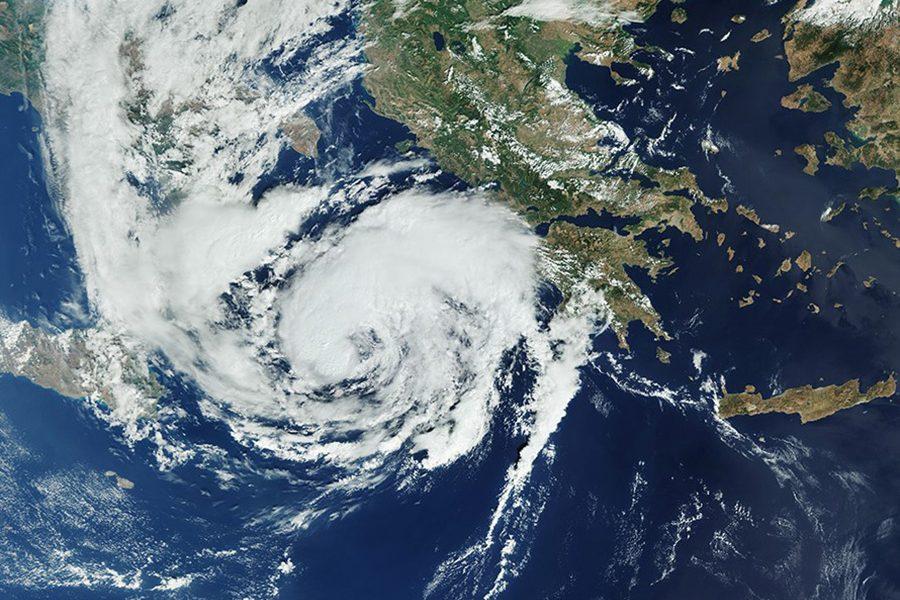 Δορυφορική εικόνα από την πορεία του «Ιανού» (φωτ.: Reuters).